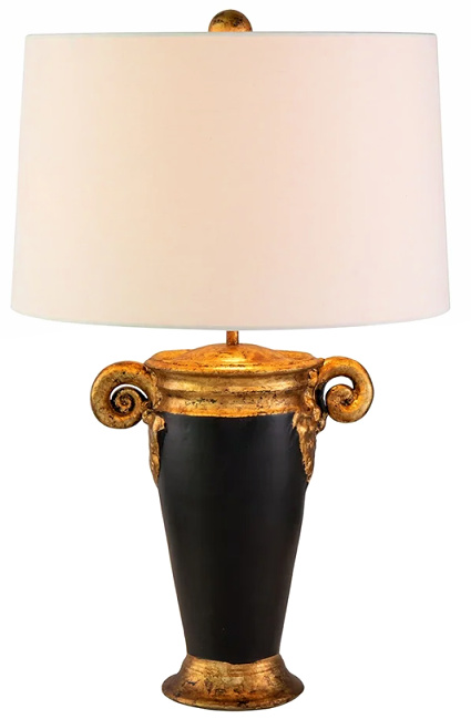 Black and Gold Urn Style Small Table Lamp Drum Shade by Lucas McKearn
