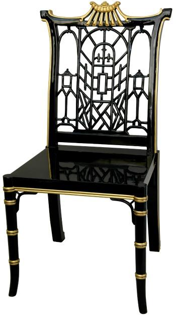 Handmade Black Lacquer Pagoda Wood Chair