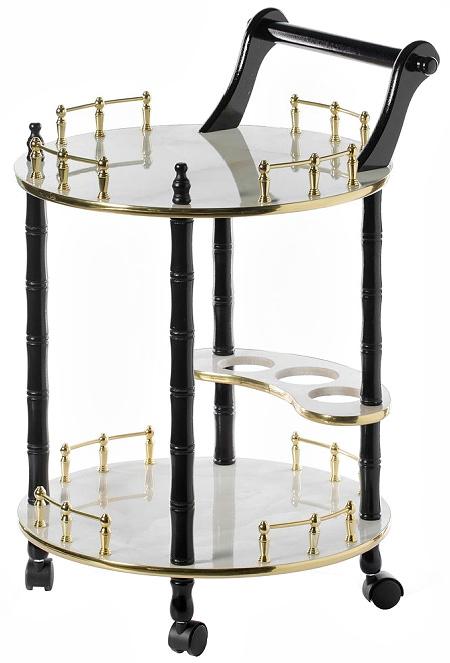 Round Wood Serving Bar Cart Tea Trolley 2 Tier Shelves, Rolling Wheels