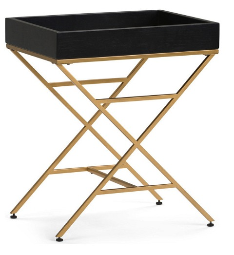 Simpli Home Moira Accent End Table, Matte Black and Gold