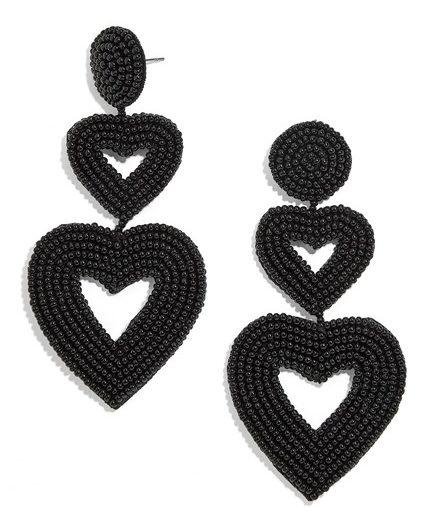 Vlerra Beaded Heart Drop Earrings
