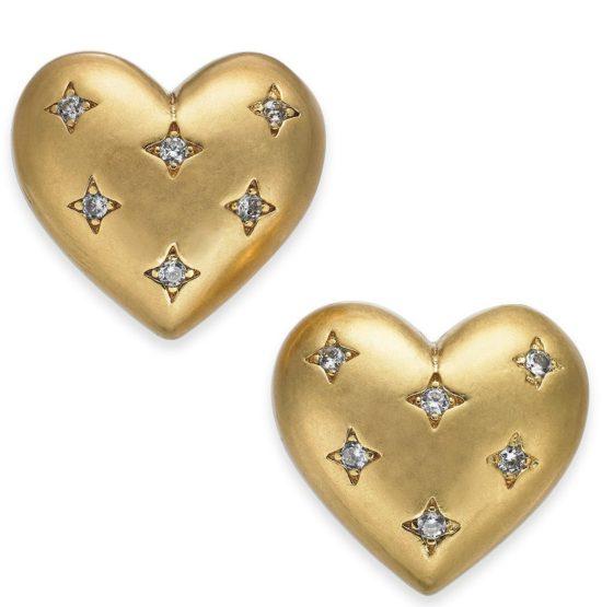 kate spade new york Gold-Tone Pavé Heart Stud Earrings
