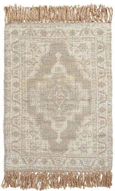 Gray Persian Style Jute Area Rug
