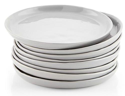Mercer Grey Round Appetizer Plates, Set of 8
