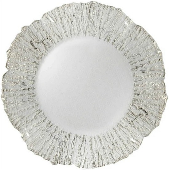 Round Deniz Flower Silver Glass Charger Plate