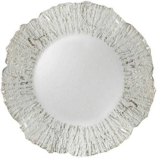 Round Deniz Flower Silver Glass Charger Plate