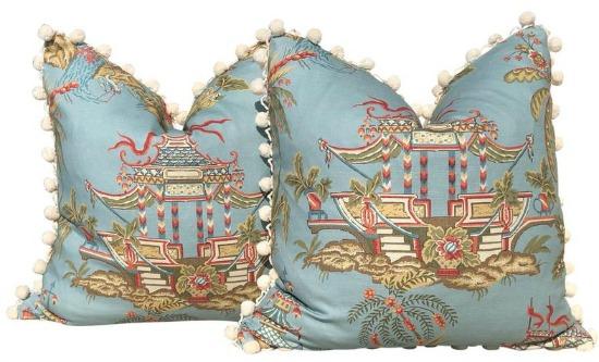 Thibaut Pagoda Pillow in Teal with Cream Pom Pom Trim
