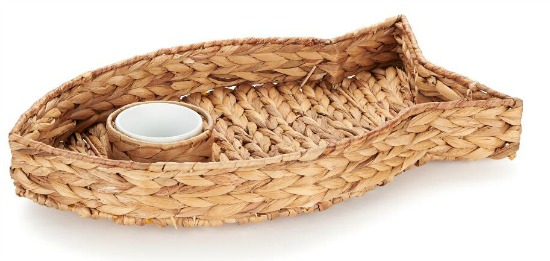 Woven Straw Fish Chip & Dip Tray