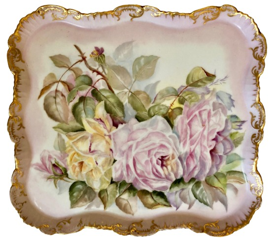 antique-square-hand-painted-rose-plate