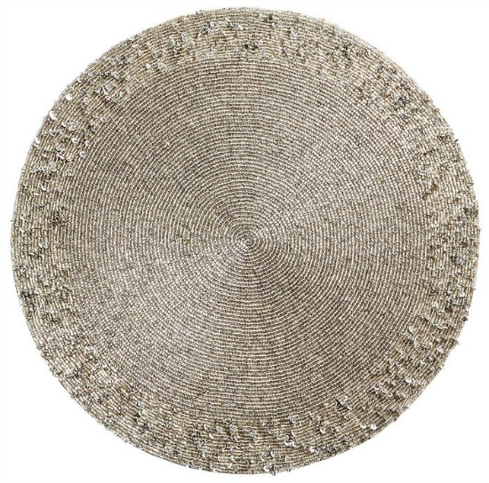 Glitz Beaded Silver Placemat