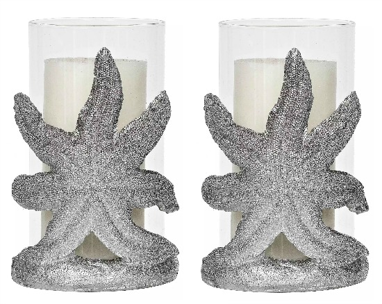 silver starfish pillar candle holder