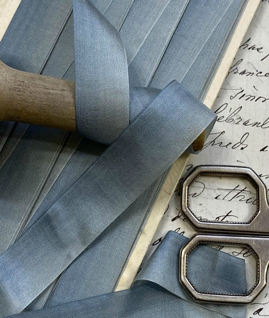Antique Silk French Subdued Blue Ombre Ribbon