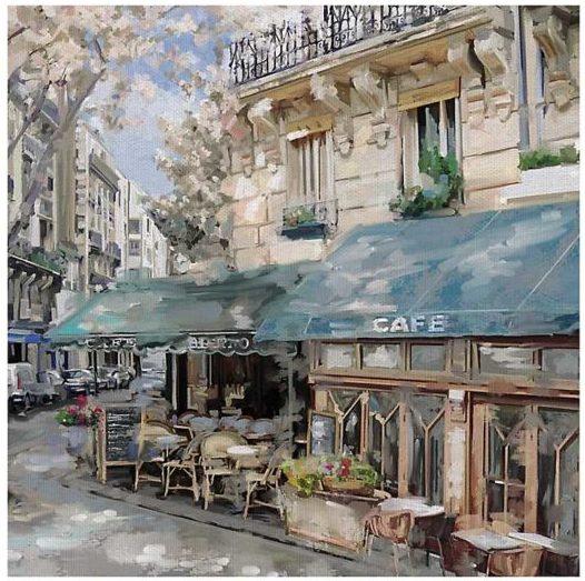 Bistro de Paris I Square Canvas Art Print
