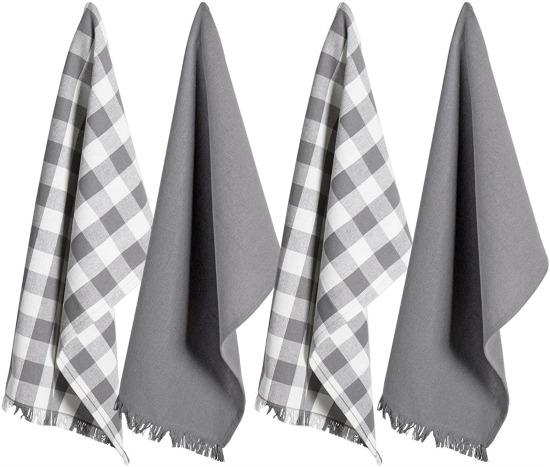 DII Dish Towels Check Plaid, Set of 4-Gray