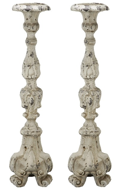 Distressed White Ornate Candle Holder, 28 in.