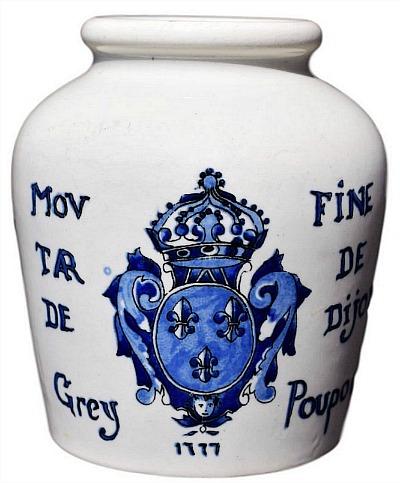 French Antique Digoin Sarreguemines Grey Poupon Mustard of Dijon Pot