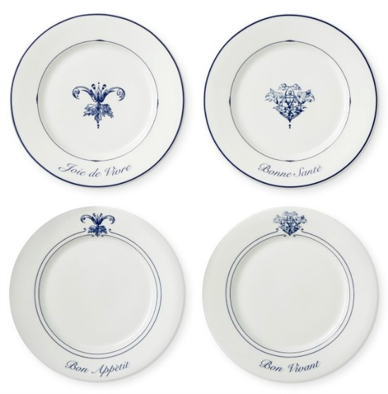 French Bistro Appetizer Plates, Set of 4, Mixed Blue