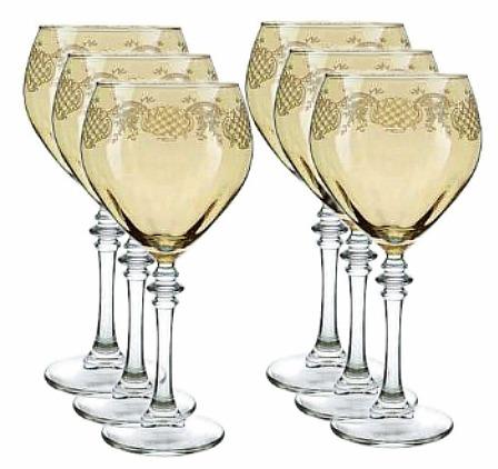 Three Star Cristalleria Fratelli Fumo Wine Glasses in Amber (Set of 6)