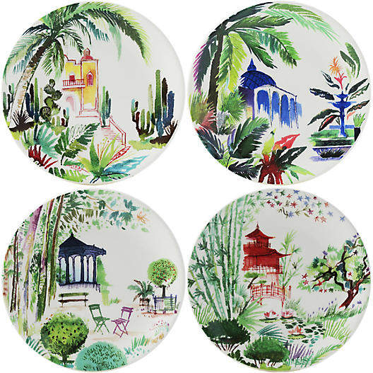 Gien Set of 4 Jardins Canape Plates