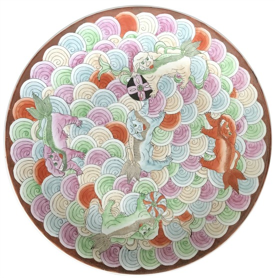 vintage-chinoiserie-foo-dog-dragon-ceramic-platter-hand-painted