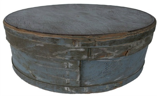 Antique Large Round Blue Wood Cheese Box