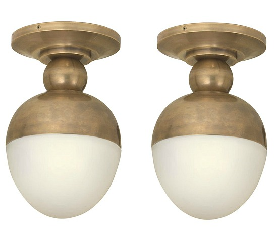 Thomas OBrien Clark 1 Light 8 inch Hand-Rubbed Antique Brass Flush Mount Ceiling Light