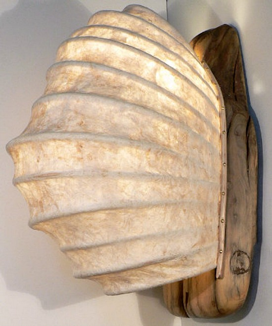 Driftwood, Rice Paper & Reed Sconces