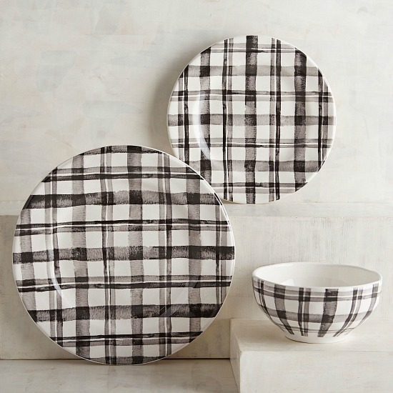 Watercolor Black Plaid Dinnerware