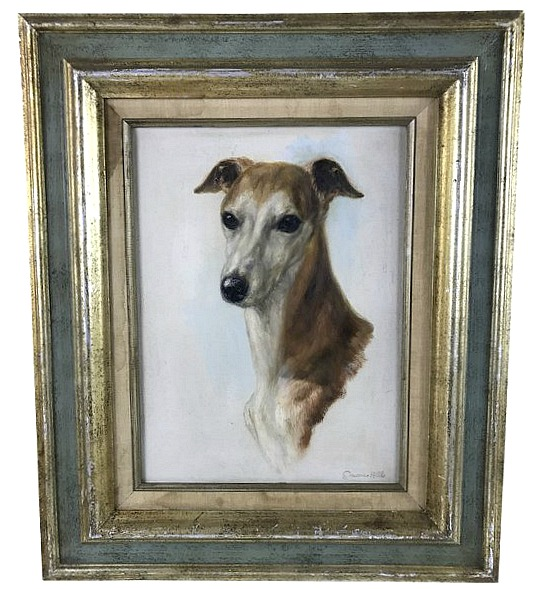 framed-oil-painting-of-greyhound-whippet