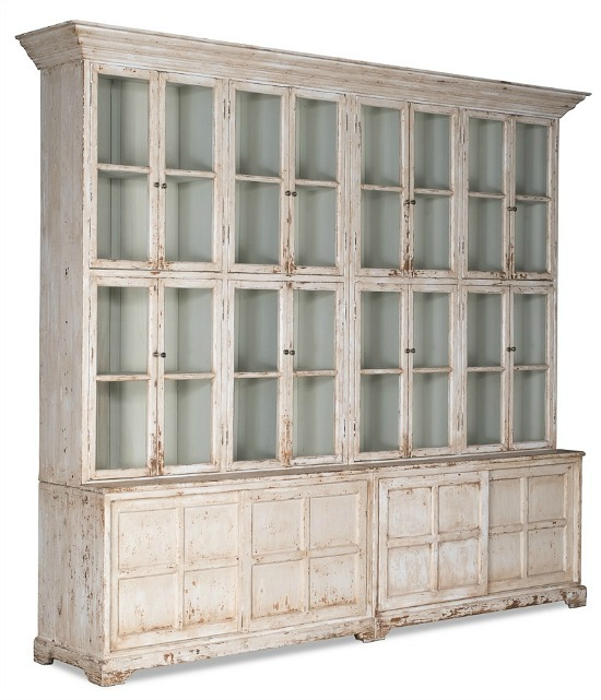 Cabinet, Glass Front, Pine, Antique White