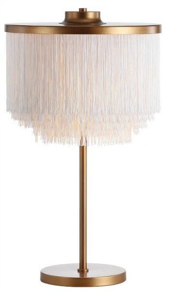 Coco Fringed Metal LED Table Lamp Gold White by JONATHAN Y