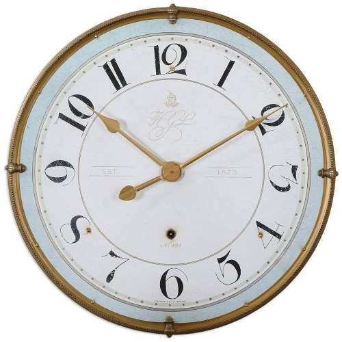 Alouette French Country Antique Frame Gold Wall Clock
