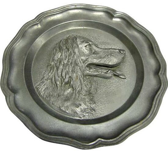 Vintage-French-Pewter-Hunting-Dog-plate