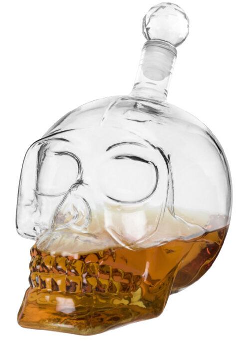 Foster & Rye Skull Liquor Decanter, Clear Glass Skull Shaped Whiskey Decanter with Stopper