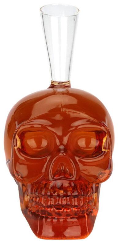 Glass Decanter Skull Patterned