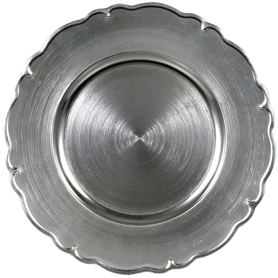 Metallic Silver Scroll Charger Plate