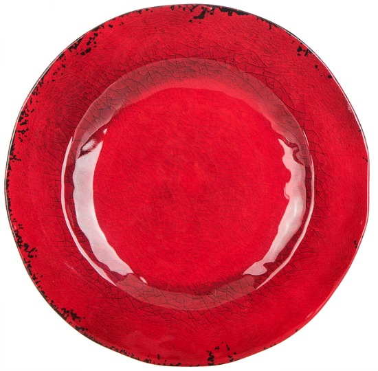 Red Wavy Crackle Plate