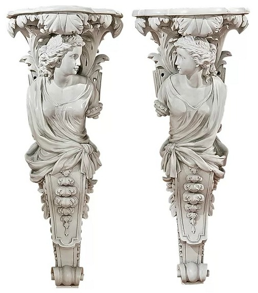 French Baroque Caryatid Sculptures Wall Decor Set