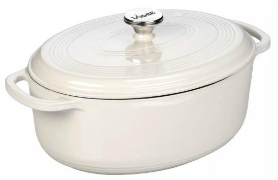 Lodge 7 Quart Oval Dutch Oven - Oyster White