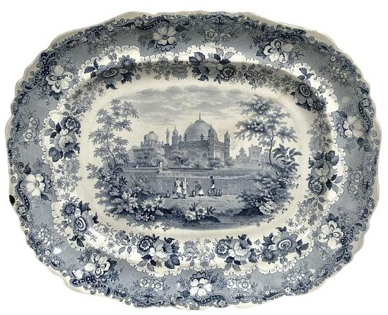 Antique Blue Transferware Platter