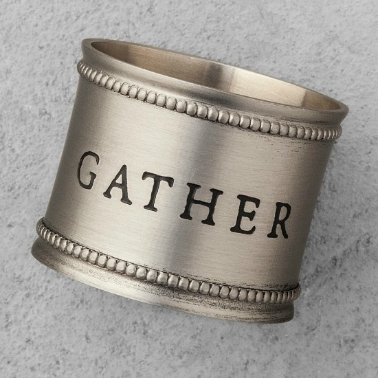 Napkin Ring Pewter - Set of 4 - Gather, Merry, Joy, Peace - Hearth & Hand™ with Magnolia