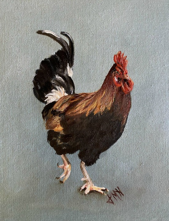 8x10 Oil Painting of a Rooster