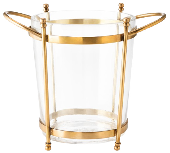 Antique Brass and Glass Ice Bucket