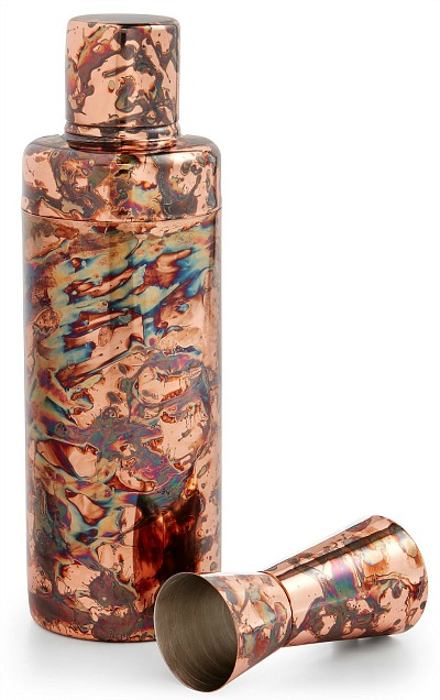 Antiqued Copper-Finish Shaker & Jigger