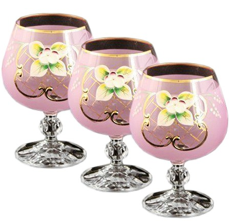 Bohemian Crystal Colored Glasses, 6-pc Vintage PINK Brandy Cognac Snifters