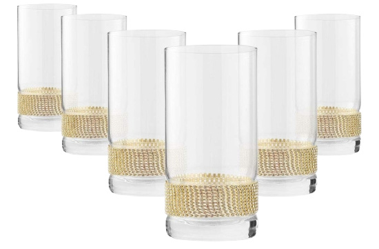 """Cheer Collection Luxurious Highball Cocktail Sparkling""""Diamond"""" Studded Glasses"""