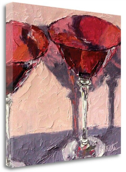 'Cranberry Glass' by Leslie Saeta Framed Print on Wrapped Canvas