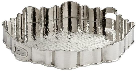 "Cyan Design Roscoe Tray Roscoe 18.5"" Diameter Metal Tray Made in India - Nickel"