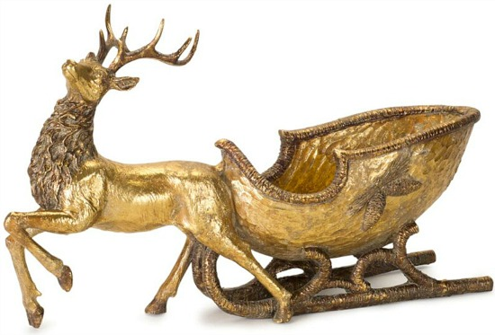 "Deer With Sleigh 19""L X 11""H Resin"