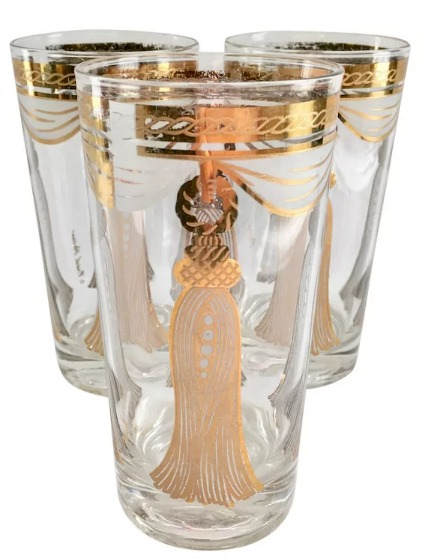 Fred Press 22K Gold Curtain Tassel Rope Design Mid Century Highball Tumblers